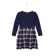 Load image into Gallery viewer, Navy Tartan Girls Knitted Dress - OTedd