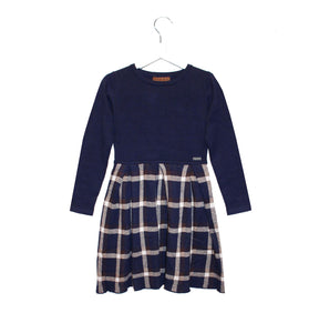 Navy Tartan Girls Knitted Dress - OTedd