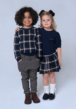Load image into Gallery viewer, Navy Tartan Pleated Skirt - OTedd