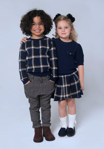 Navy Tartan Pleated Skirt - OTedd