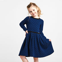 Load image into Gallery viewer, Royal Blue Herringbone Girls Dress - OTedd