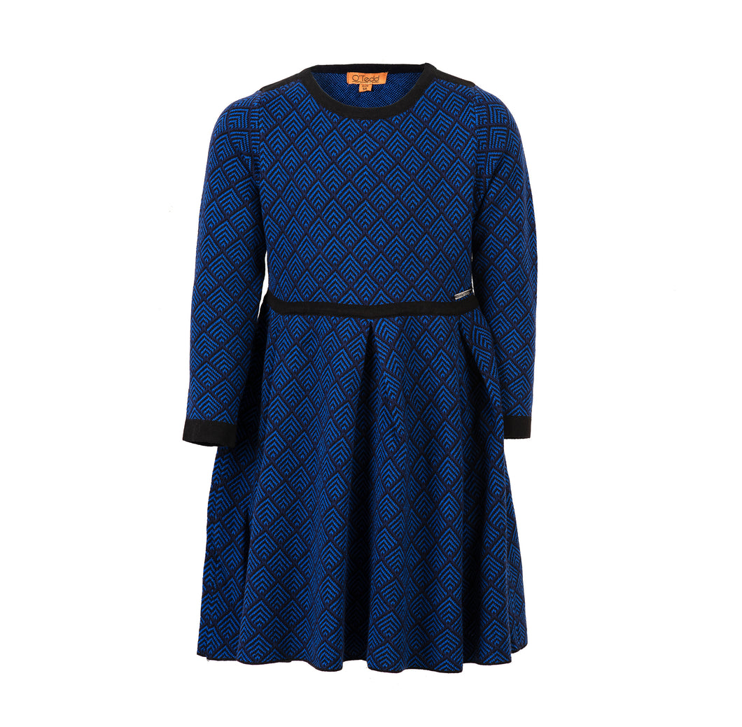 Royal Blue Herringbone Girls Dress - OTedd