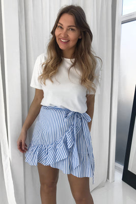Agnes Skirt - White/Blue
