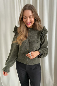 Darling L/S Frill Cardigan - Green