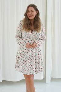 Elina Dress - White Printed Small Flower