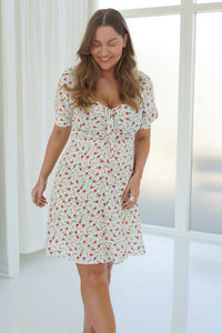 Lula Dress - White Printed Small Flower