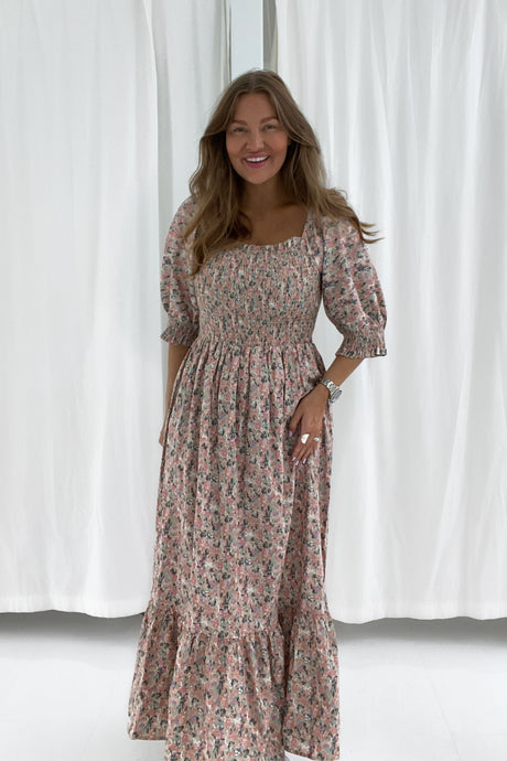 Marie Dress - Light Pink Print