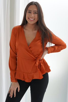 Henna Satin Blouse - Rust