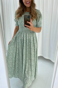 Luna Dress - Flower Print Mint Green