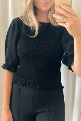 Anne Smock Top - Black