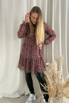 Merle L/S Short Dress - Black Flower