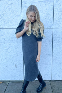 Many 2/4 Sleeve Dress - Dark Grey