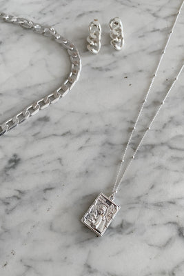 Efj Square Tag Necklace - Silver Colour