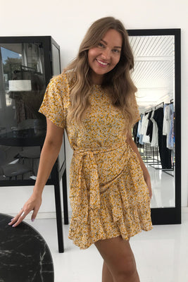 Agnes Dress - Yellow Flower Print