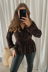 Furious L/S Glitter Wrap Top - Burnt Henn