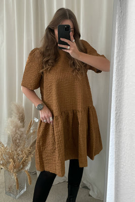 Ariel S/S Loose Dress - Brown