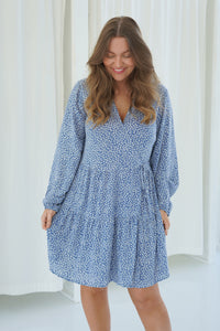 Elina Dress - Blue Printed Small Flower