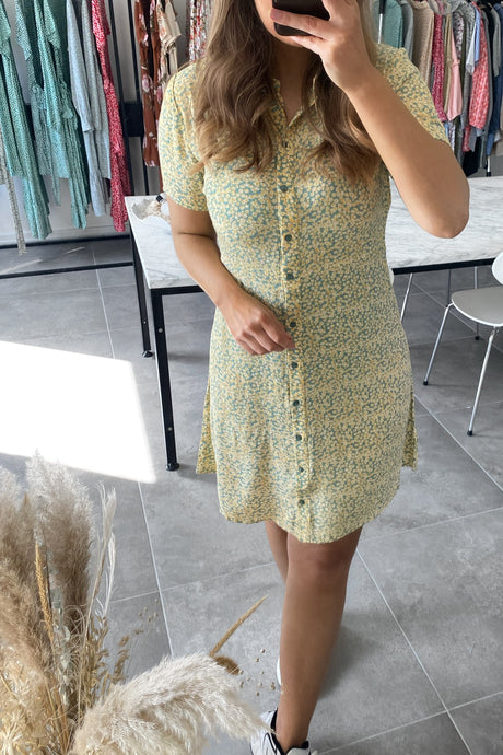 Monsi Shirt Dress - Yellow Flower