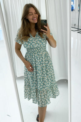 Melinda Dress - Minty Flower