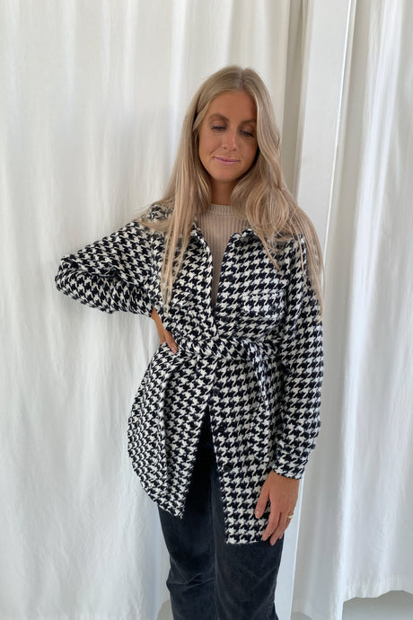 Emmy Jacket - White/Black Checked