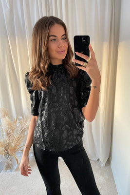 Vicky 2/4 Highneck Top - Black