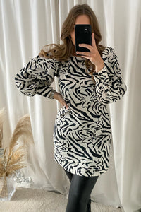 Dalina L/S Dress - Zebra