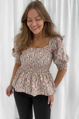 Marie Top - Light Pink Print