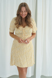 Lula Dress - Dark Yellow Flower
