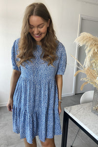 Vilma Dress - Blue Printet Small Flower