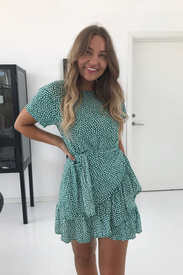 Agnes Dress - Green Flower Print