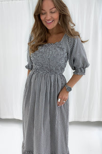 Marie Dress - White/Black Checked