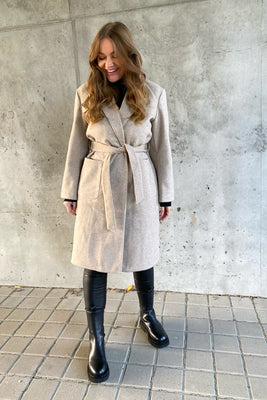 Trillion Long Belt Coat - Beige