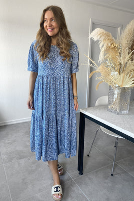 Long Vilma Dress - Blue Printet Small Flower