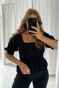 Lilje Smock Top - Black