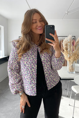 Lola Quilted Jacket - Purple Flower