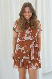 Agnes Dress - Brown Printed