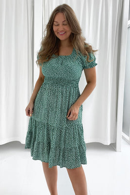 Laura Dress - Flower Print Green