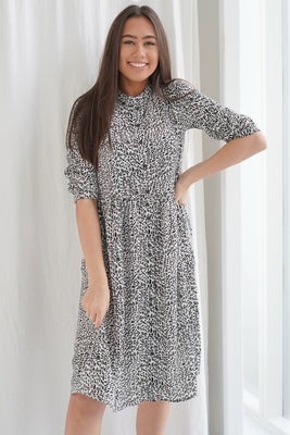 Monica Dress - Black/White