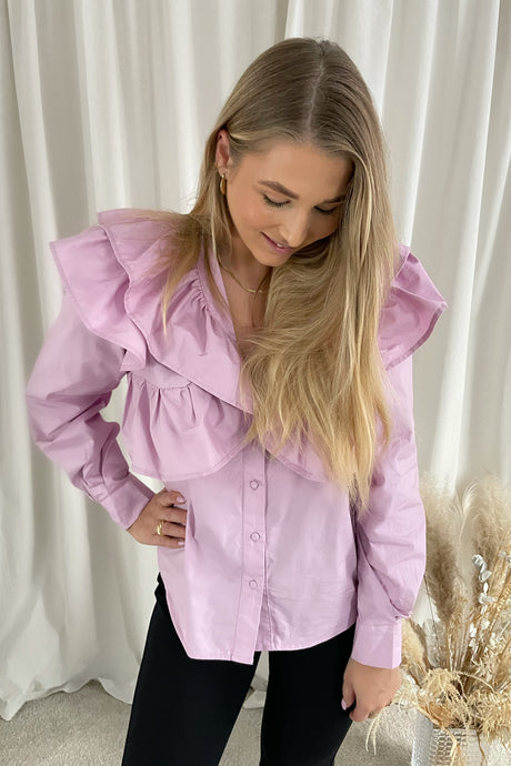 Caya L/S Ruffle Top - Pink