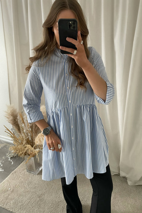Ditte Shirtdress - Blue/White