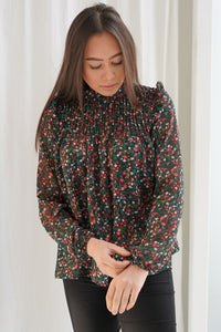Aima Blouse - Red Flower Print