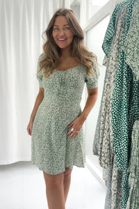 Lula Dress - Flower Print Mint Green