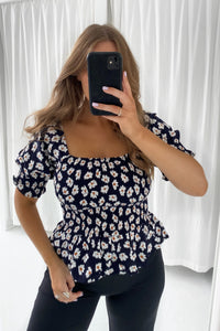 Lilje Smock Top - Night Sky Blossom