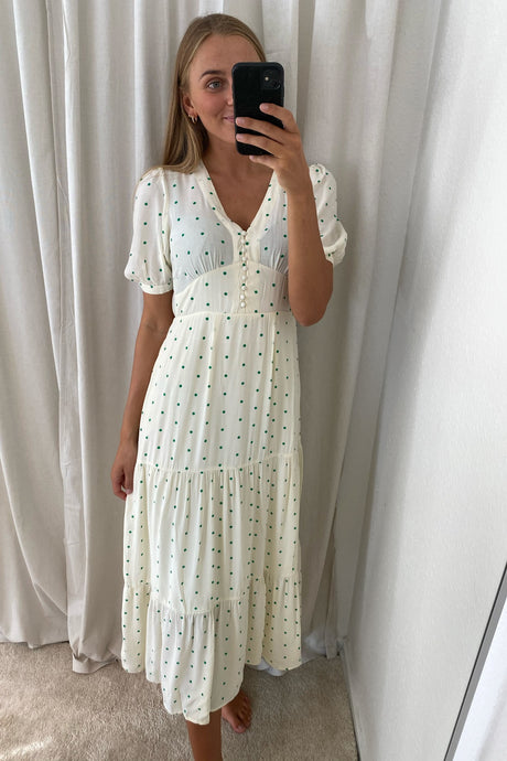 Ally Dress - Green Dots