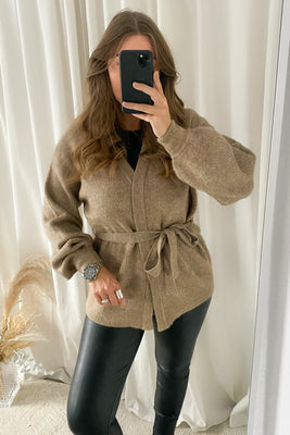 Simone LS Belt Cardigan - Brown