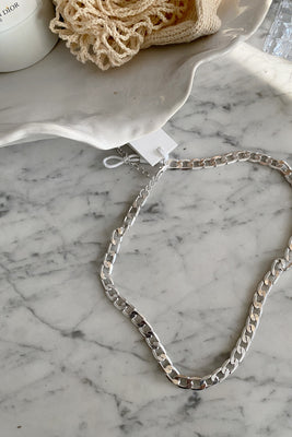 Efj Cuban Link Necklace - Silver Colour
