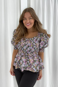 Marie Top - Purple Mix Print