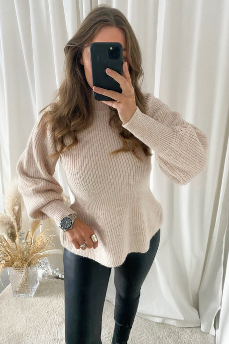 Pepper L/S Highneck Blouse - Beige