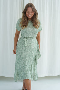 Agnete Dress - Flower Print Mint Green