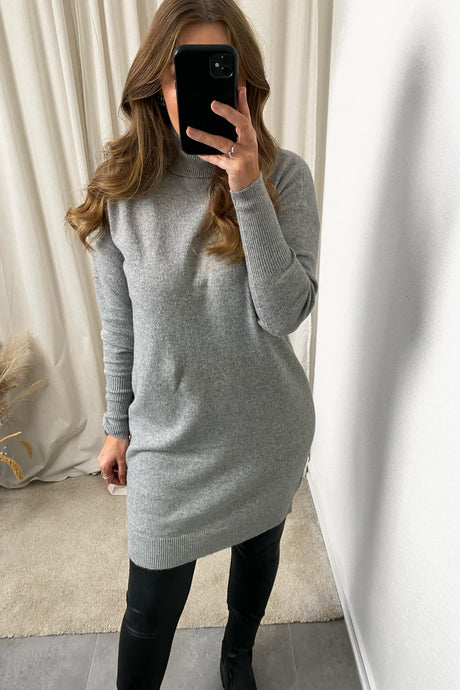 Brilliant Knit Dress - Light Grey Melange